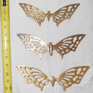 Vintage Lot of 3  Solid Brass Butterflies